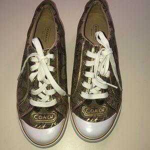 Beautiful gold Coach Barrett 7 1/2 B sneakers